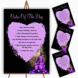 Disney Castle Fireworks Personalised Wedding Order Of The Day Cards & Signs