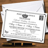Vintage Telegram Elegant White RSVP Cards