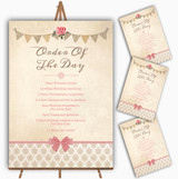 Vintage Rustic Style Bunting Pink Rose Wedding Order Of The Day Cards