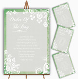 Rustic Green Lace Personalised Wedding Order Of The Day Cards & Signs