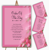 Warm Pink Flowers Personalised Wedding Order Of The Day Cards & Signs