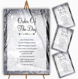 Winter Snow Scene Personalised Wedding Order Of The Day Cards & Signs