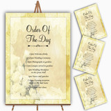 Yellow Cream Lace Personalised Wedding Order Of The Day Cards & Signs