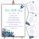 Aqua Green & Blue Watercolour Florals Wedding Order Of The Day Cards