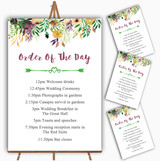 Autumn Plum Watercolour Floral Header Wedding Order Of The Day Cards