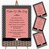Black And Coral Pink Rose Shabby Chic Wedding Order Of The Day Cards