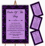 Cadbury Purple Black Damask & Diamond Wedding Order Of The Day Cards