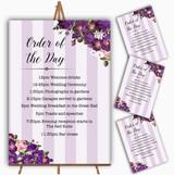 Cadbury Purple Rose & Stripes Vintage Wedding Order Of The Day Cards