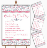 Dusty Coral Pink And Navy Blue Floral Wedding Order Of The Day Cards