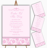 Pretty Baby Rose Pink Floral Diamante Wedding Order Of The Day Cards