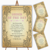 Typography Vintage Pale Pink Postcard Wedding Order Of The Day Cards