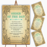 Typography Vintage Turquoise Postcard Wedding Order Of The Day Cards