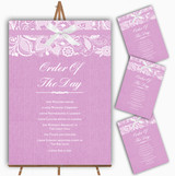 Vintage Dusky Pink Rose Burlap & Lace Wedding Order Of The Day Cards