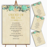 Vintage Mint Green & Gold Watercolour Wedding Order Of The Day Cards