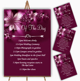 Beautiful Purple Personalised Wedding Order Of The Day Cards & Signs