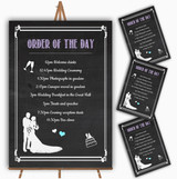 Chalkboard Lilac Personalised Wedding Order Of The Day Cards & Signs