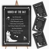 Chalkboard White Personalised Wedding Order Of The Day Cards & Signs