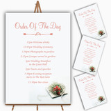 Peach Coral Rose Personalised Wedding Order Of The Day Cards & Signs