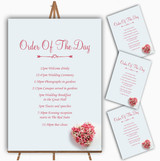 Pink Heart Roses Personalised Wedding Order Of The Day Cards & Signs
