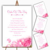 Pink Rose Petals Personalised Wedding Order Of The Day Cards & Signs