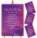Purple Pink Lily Personalised Wedding Order Of The Day Cards & Signs