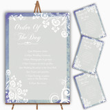 Rustic Blue Lace Personalised Wedding Order Of The Day Cards & Signs