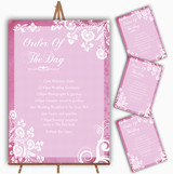 Rustic Pink Lace Personalised Wedding Order Of The Day Cards & Signs