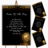 Black Champagne Personalised Wedding Order Of The Day Cards & Signs