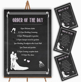 Chalkboard Pink Personalised Wedding Order Of The Day Cards & Signs