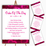 Hot Pink Hearts Personalised Wedding Order Of The Day Cards & Signs
