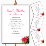 Hot Pink Tulips Personalised Wedding Order Of The Day Cards & Signs