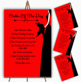 Red Black Bride Personalised Wedding Order Of The Day Cards & Signs