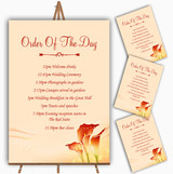 Red Orange Lily Personalised Wedding Order Of The Day Cards & Signs