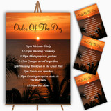 Florida Sunset Personalised Wedding Order Of The Day Cards & Signs