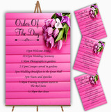 Pink Tulips Personalised Wedding Order Of The Day Cards & Signs