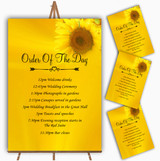 Sunflowers Personalised Wedding Order Of The Day Cards & Signs