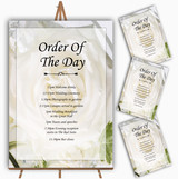 White Rose Personalised Wedding Order Of The Day Cards & Signs