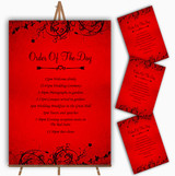 Red Flare Personalised Wedding Order Of The Day Cards & Signs
