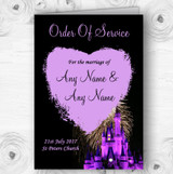 Disney Castle Fireworks Personalised Wedding Double Sided Cover Order Of Service