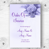 Lilac And Purple Rose Ring Personalised Wedding Double Cover Order Of Service