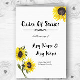 Stunning Watercolour Sunflower Wedding Double Sided Cover Order Of Service