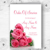 Pink Pretty Roses Personalised Wedding Double Sided Cover Order Of Service
