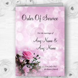 Pink Rose Bubbles Personalised Wedding Double Sided Cover Order Of Service