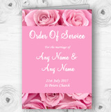 Pretty Pink Roses Personalised Wedding Double Sided Cover Order Of Service