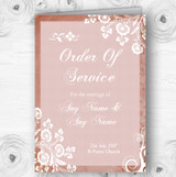 Rustic Blush Lace Personalised Wedding Double Sided Cover Order Of Service