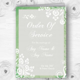 Rustic Green Lace Personalised Wedding Double Sided Cover Order Of Service