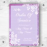 Rustic Lilac Lace Personalised Wedding Double Sided Cover Order Of Service