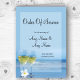Wine On The Beach Personalised Wedding Double Sided Cover Order Of Service