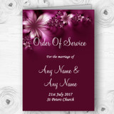 Beautiful Purple Personalised Wedding Double Sided Cover Order Of Service