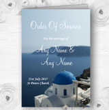 Greece Santorini Personalised Wedding Double Sided Cover Order Of Service